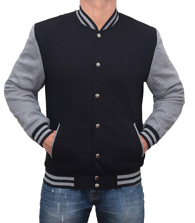 Mens Varsity Letterman Jacket - Lightweight Baseball High School Bomber Jacket Men FJ-WPLPSJ-PP