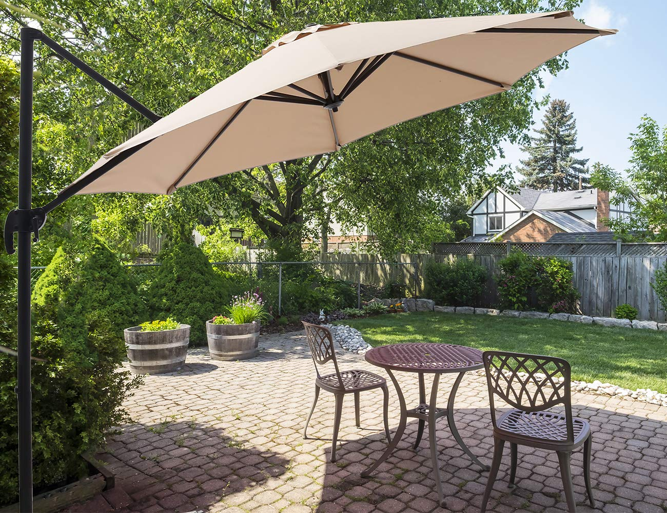 SUPERJARE 10 FT Offset Hanging Umbrella, Outdoor Patio Cantilever with Tilt Canopy, Crank Lift 5 Lock Positions, 360 Rotation – Beige