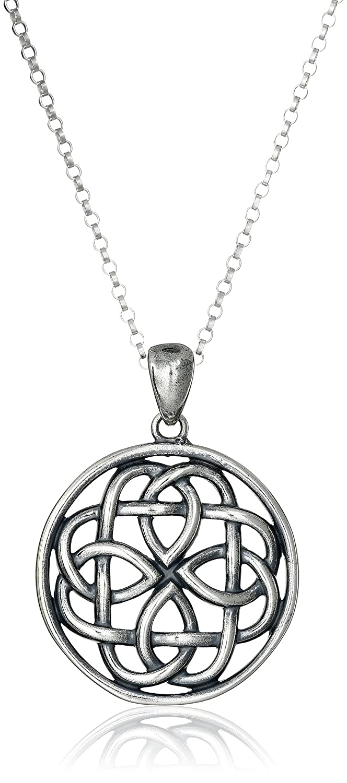 Amazoncom Sterling Silver Oxidized Celtic Knot Medallion Pendant