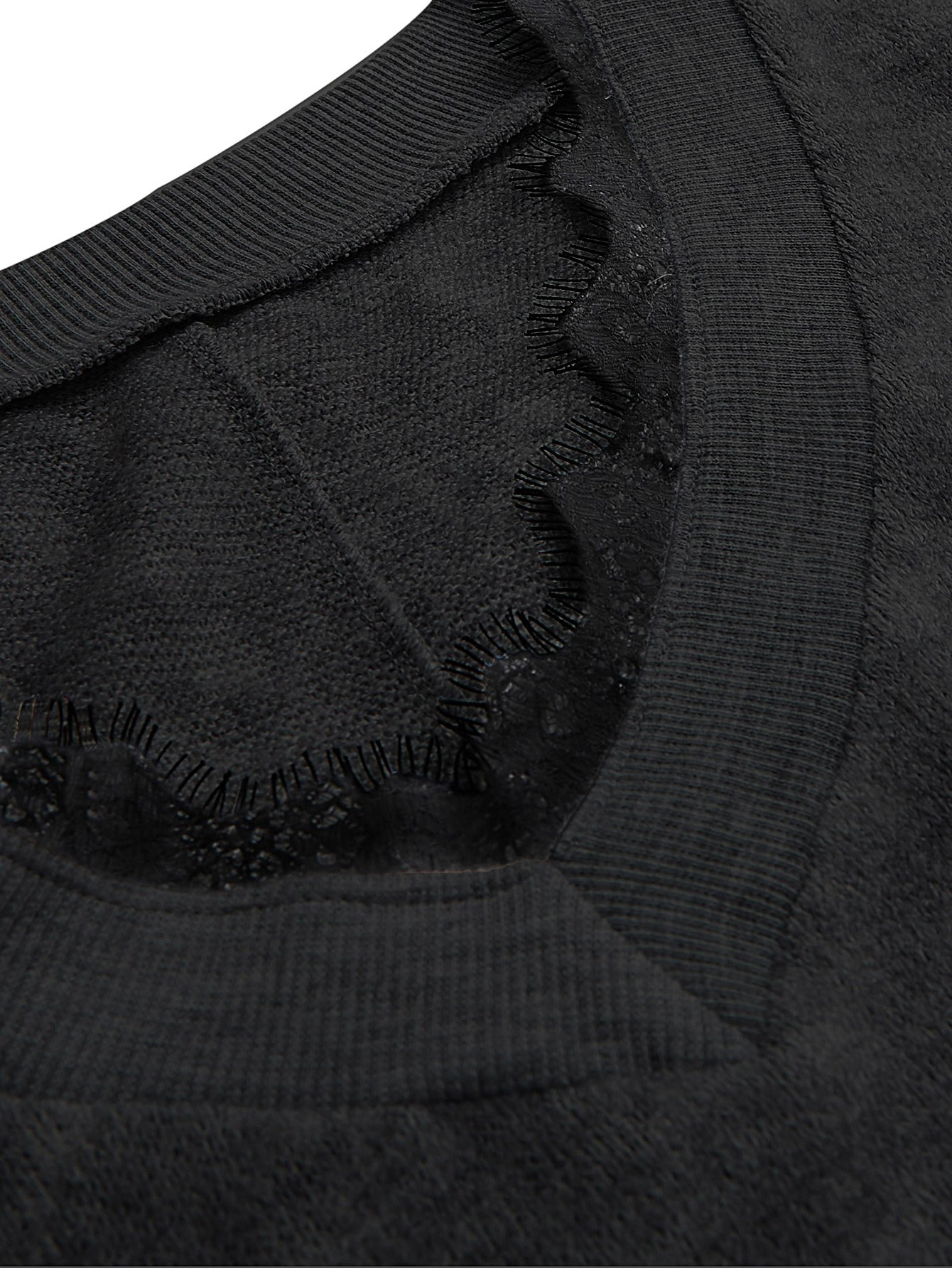 Verdusa Women's Batwing Sleeve Sweaters Jumper Eyelash Lace Pullover Tops Black-1 L by Verdusa (Image #6)