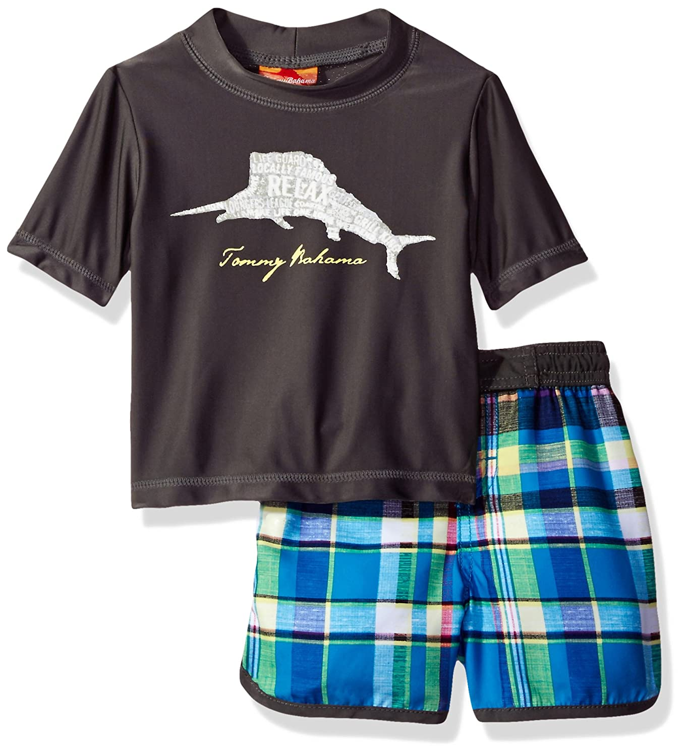 Tommy Bahama Baby Boys' Plaid Swim Short Rash Guard Set ST117625