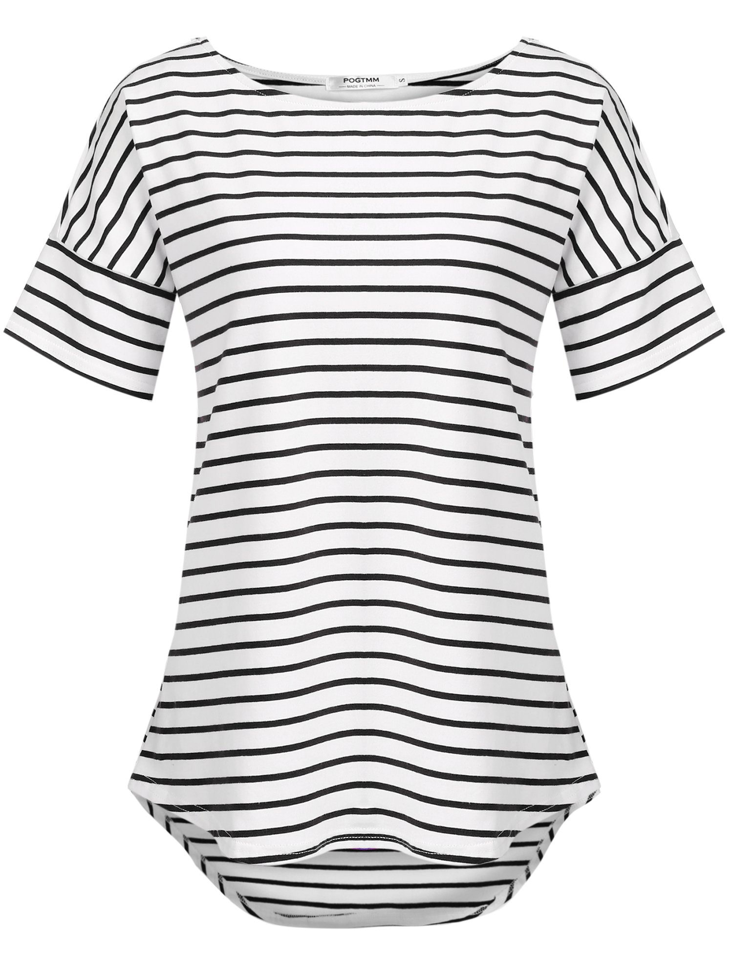POGTMM 2018 Women's Casual Striped T Shirt Tee Tops (Black&White, US M(8-10))