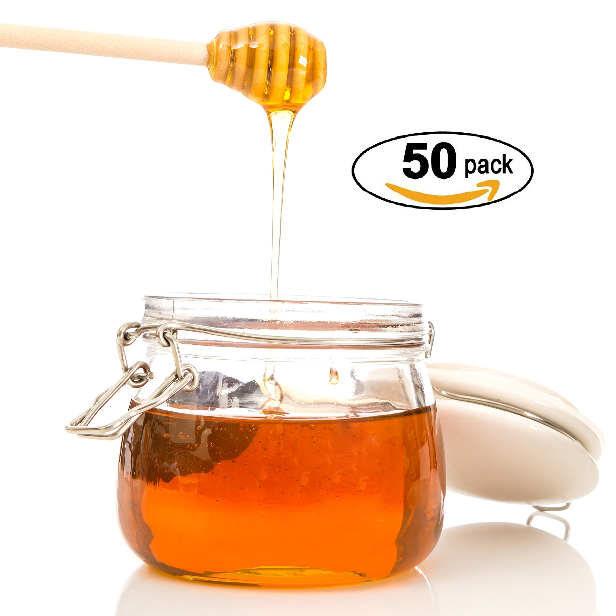 Honey Dipperz 50 PACK - 6'' Inches Long (16cm) Wooden Honey Dipper Drizzler Stirring Stick, Spoon Rod Muddler Dispense, Great gift for Parties, Wedding, Baby Showers