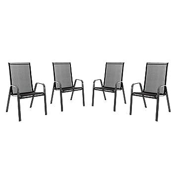SONLEX 4er Set Stapelstuhl Für Balkon Terrasse Garten Stuhl Mit Armlehne  Textilene 2x1 Schwarz Gestell