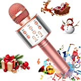 FUKKUDA Karaoke Microphone for Kids, 3 in 1 Wireless Portable Handheld Microphone Karaoke Machine for Christmas Home…