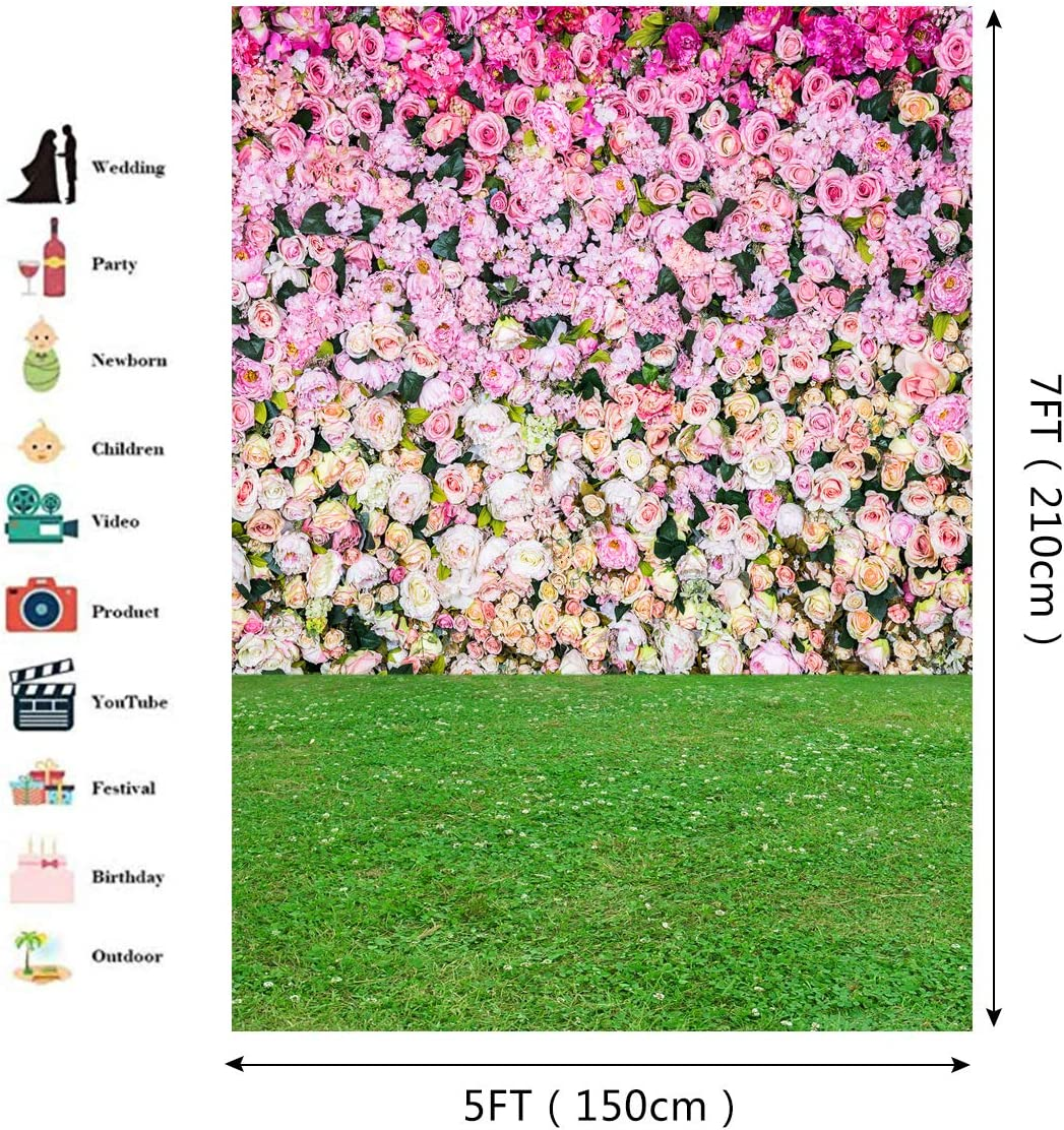 Pink Red Flowers Wall Backdrop Green Grasses Floor Photography Background Wonderful Romantic Wallpaper Wedding Backdrop Children Birthday Party Backdrop 5x7ft E00T9124