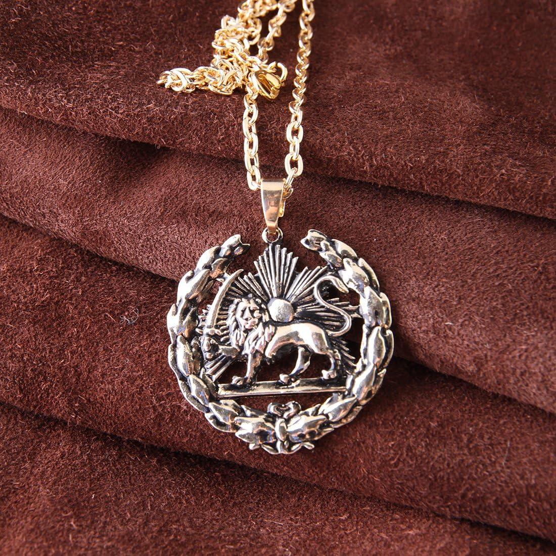 Dor/é antique PT Shir Khorshid Lion Soleil Pahlavi Collier Iranienne persan Cha/îne Iran Art