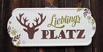 Metall Schild Nostalgie Lieblingsplatz Creme//Weiß 30x19cm Wanddeko Geschenk