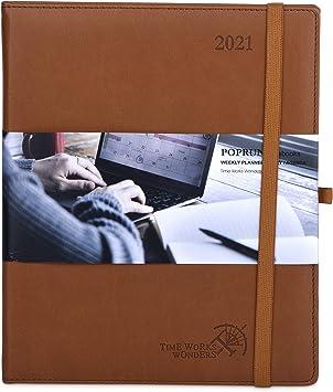 Schwarz Wochenkalender Planer 2021 Kalender 2021 Wochenplaner ca Terminkalender 1 Woche 2 Seiten Terminplaner Hardcover Veganem Leder mit Innentasche 16 x 21 cm A5