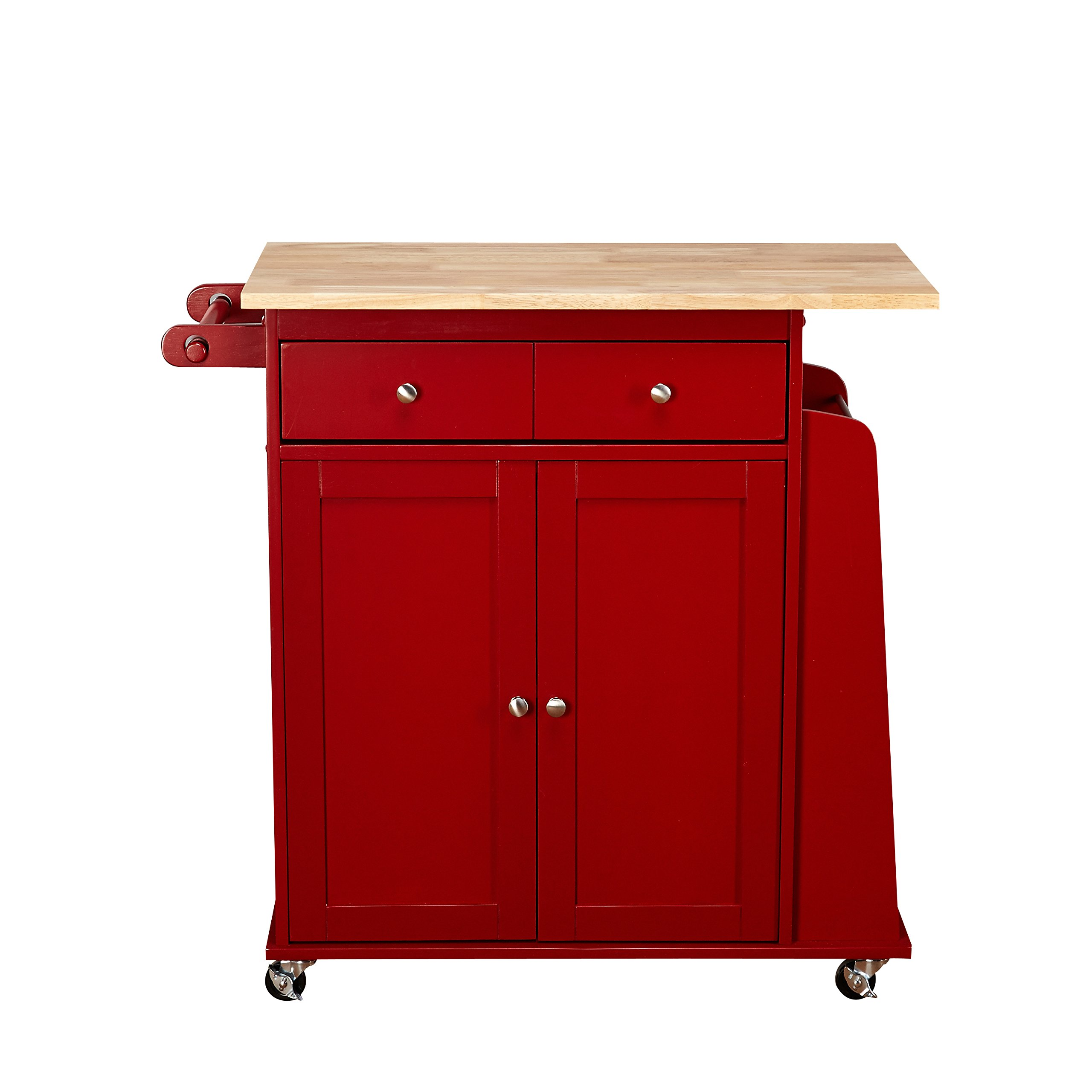 Target Marketing Systems Sonoma Collection Two-Toned Rolling Kitchen Cart with Drawer, Cabinet, and Spice Rack, Red/Natural