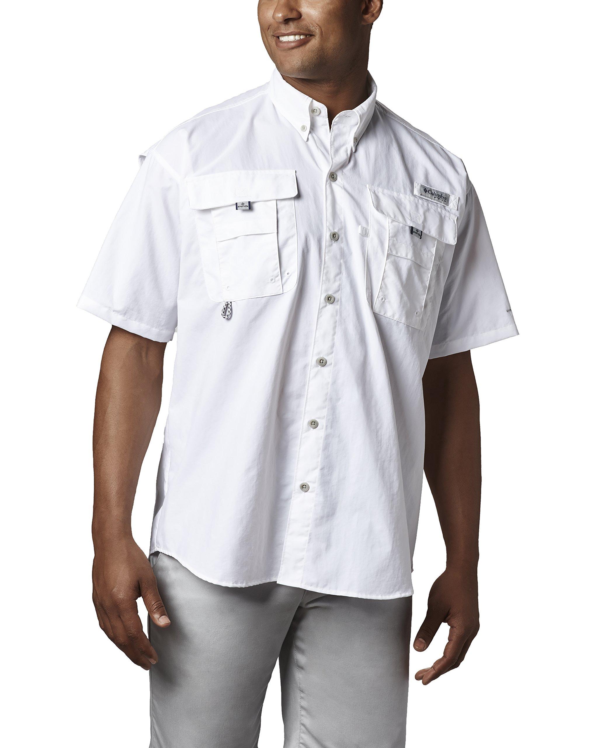 Columbia Men's PFG Bahama II Short Sleeve Shirt, White, X-Small