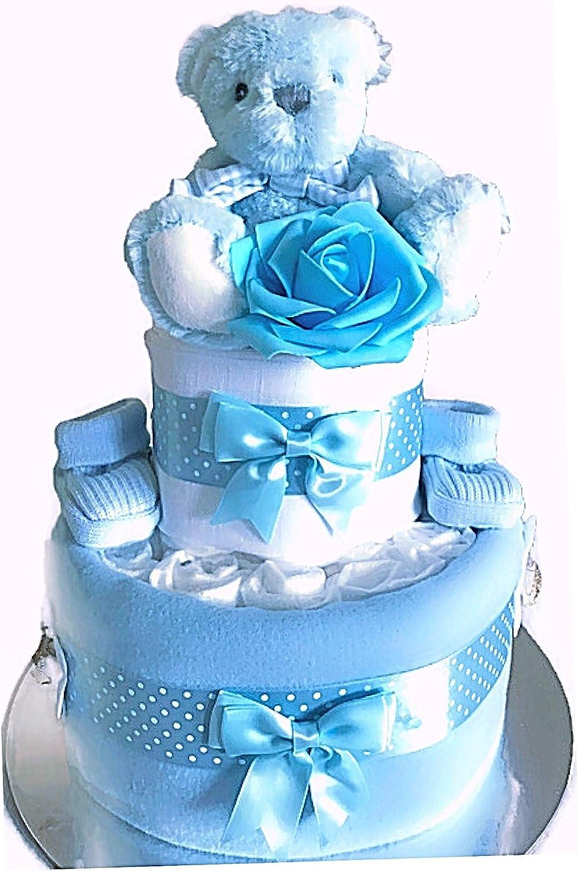 2/livelli torta di pannolini New MUM maternit/à Baby Shower Gift Baby Boy cestini