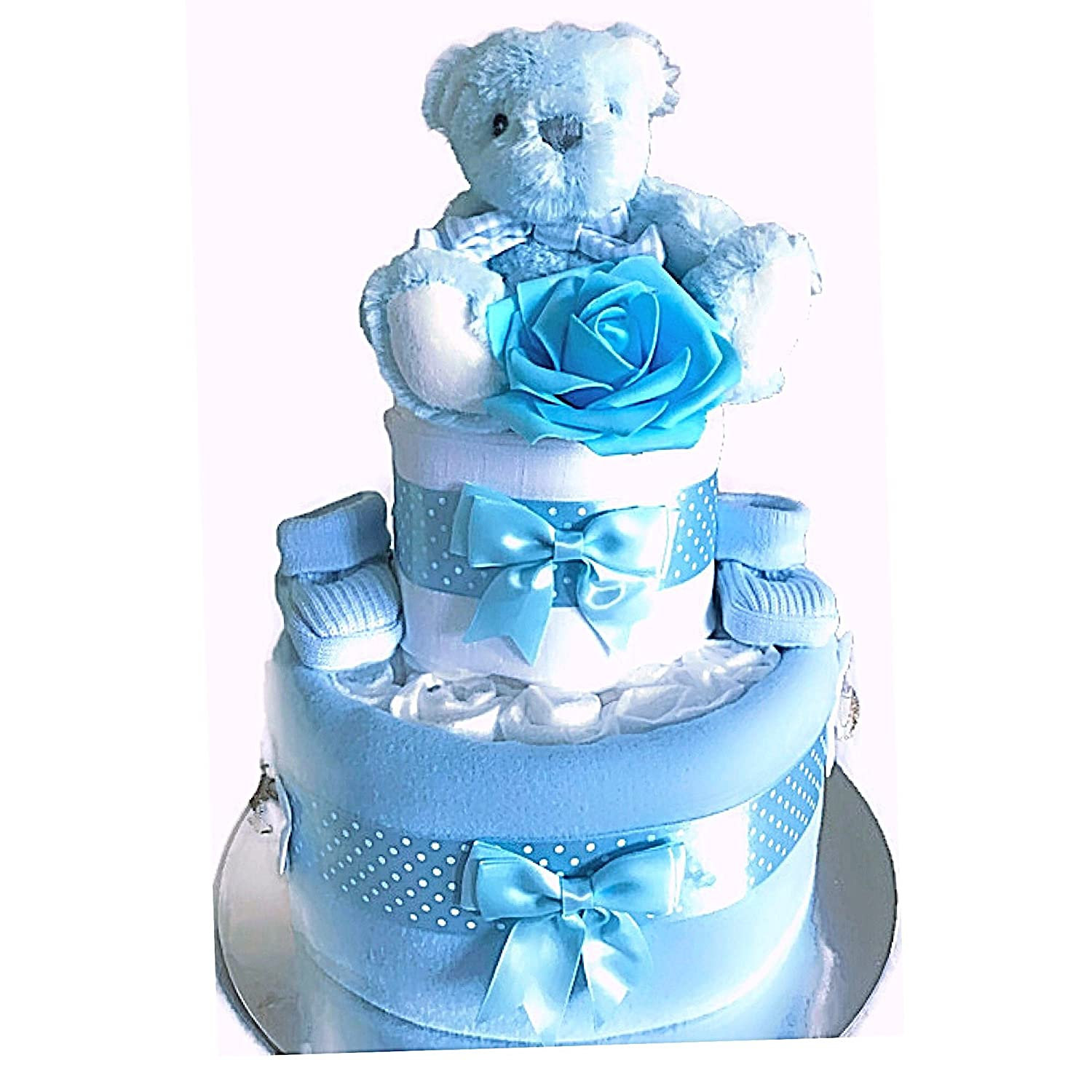 2 Tier Nappy Cake New Mum Maternity Baby Shower Gift Baby Boy Hampers Angel Kids