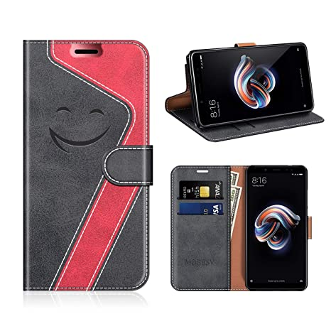 MOBESV Smiley Funda Cartera Xiaomi Redmi Note 5 Magnético, Funda Cuero Movil Xiaomi Redmi Note 5 Carcasa Case con Billetera/Soporte para Xiaomi Redmi ...