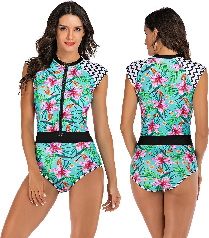 Women Swimwear Printed One-piece Zip With Half Sleeve Long Sleeve UV-Protection
