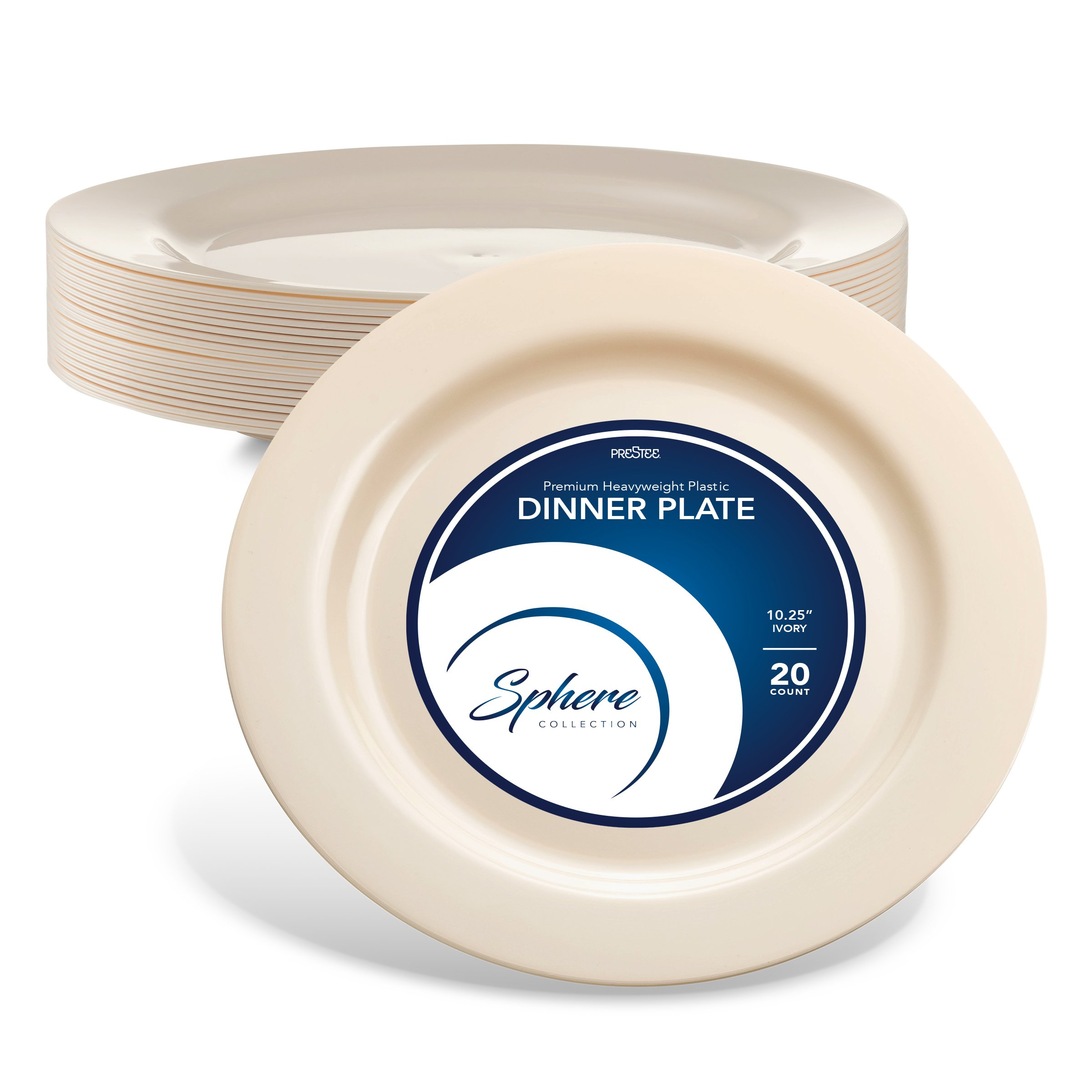 SPHERE PARTY PLATES / DINNER PLATES | 10 Inch Plastic Plates for Dinner / Wedding Etc.| Round Ivory Everyday Plate, 20 Pack | Elegant & Sturdy Heavy Duty Disposable Plates for all Holidays & Occasions