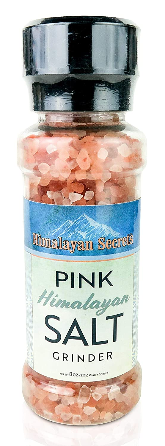 Natural Pink Himalayan Cooking Salt in Refillable Grinder - 8 oz Healthy Unrefined Coarse Salt Packed with Minerals - Kosher Certified : Grocery & Gourmet Food