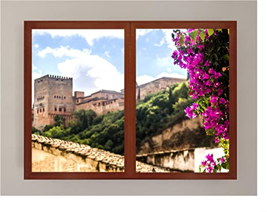 CCRETROILUMINADOS Vistas a la Alhambra Granada Ventanas Falsas Cuadros Decorativos Iluminada, Metacrilato, Nogal, 60 x 80: Amazon.es: Hogar