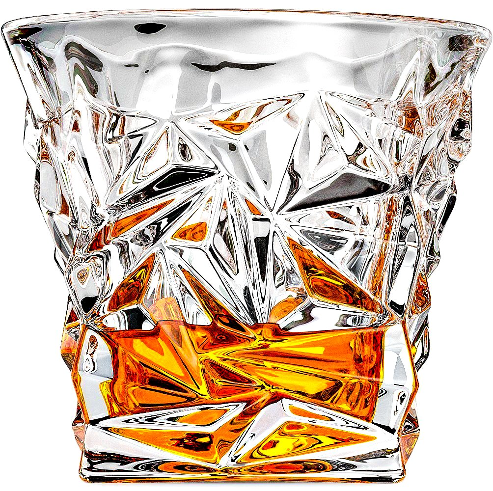 Benir Diamond Cut Whiskey Glasses Make the Perfect Glass for Scotch, Bourbon, Cognac, Tequila or Liquor â 8oz, Set Of 2 by Benir (Image #3)