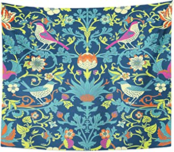 Berrykey Tapestry Colorful Morris Dark Enchanted Vintage Flowers and Birds Magic Forest William Home Decor Wall Hanging for Living Room Bedroom Dormisette 60 x 80 Inches: Amazon.es: Juguetes y juegos