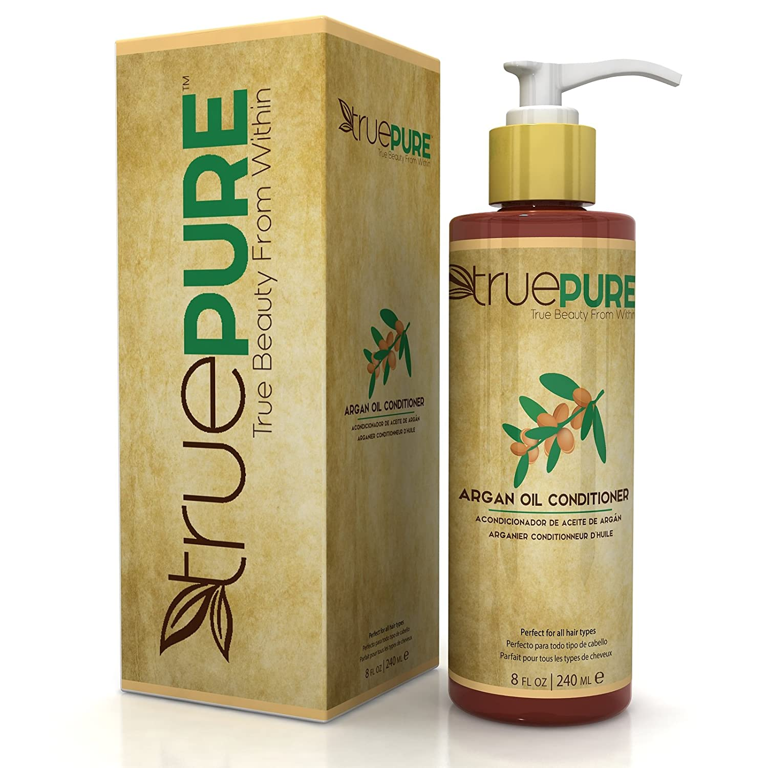 TruePure Agran Oil Conditioner With ArganPure Complex - Natural, Unscented, Plant Based Hair Loss Prevention Formula Without Sulfates or Parabens For Healthy Hair Growth - 8oz