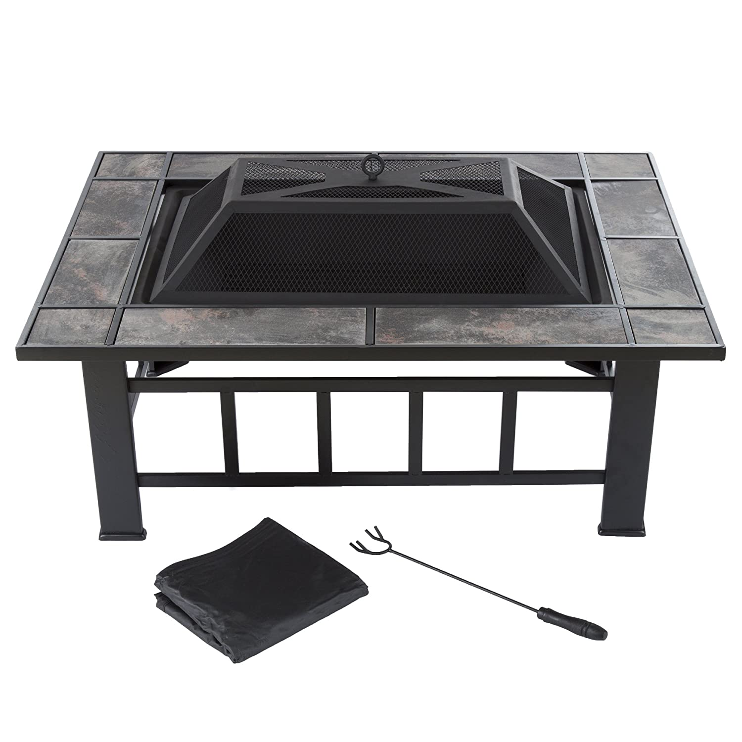 """Fire Pit Set, Wood Burning Pit -Includes Screen, Cover and Log Poker- Great for Outdoor and Patio, 37"""" Marble Tile Rectangular Firepit by Pure Garden"""