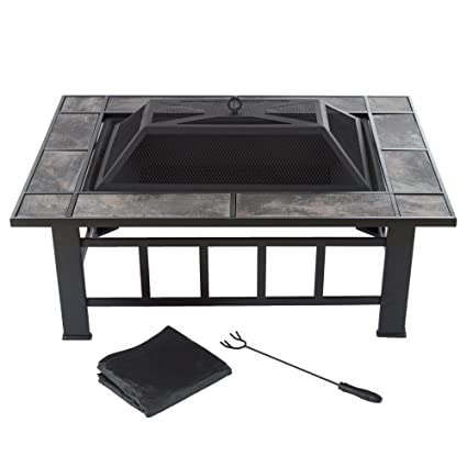 Pure Garden Fire Pit Set, Wood Burning Pit  Includes Screen, Cover And Log