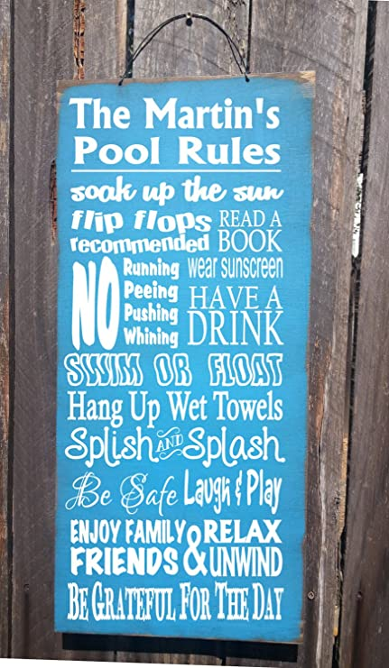 Amazon.com: imouSde Personalized Pool Rules Sign, Pool Decor ...