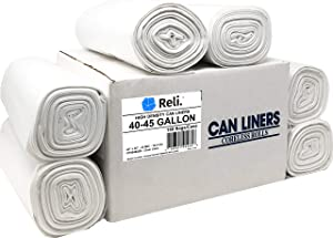 Reli. Trash Bags, 40-45 Gallon (150 Count) (Clear) - Premium Thickness - Easy Grab Rolls - Can Liners, Garbage Bags with 40 Gallon (40 Gal) to 45 Gallon (45 Gal) Capacity
