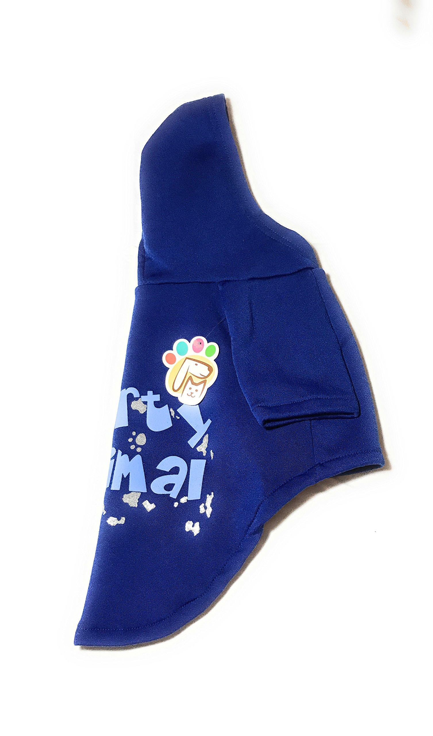 Dog or Puppy Sweater Hoodie ´Party Animal´ Blue and Silver for Large or Extra Large Pets XL size/ Extra Large Fashion and Funny Hoodie Shirt Petmont Brand For Boys Or Girls by Petmont (Image #2)