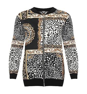 226d616d976 MA ONLINE Ladies Plus Size Paisley Print Zipper Bomber Jacket Womens Long  Sleeve Party Wear Baroque