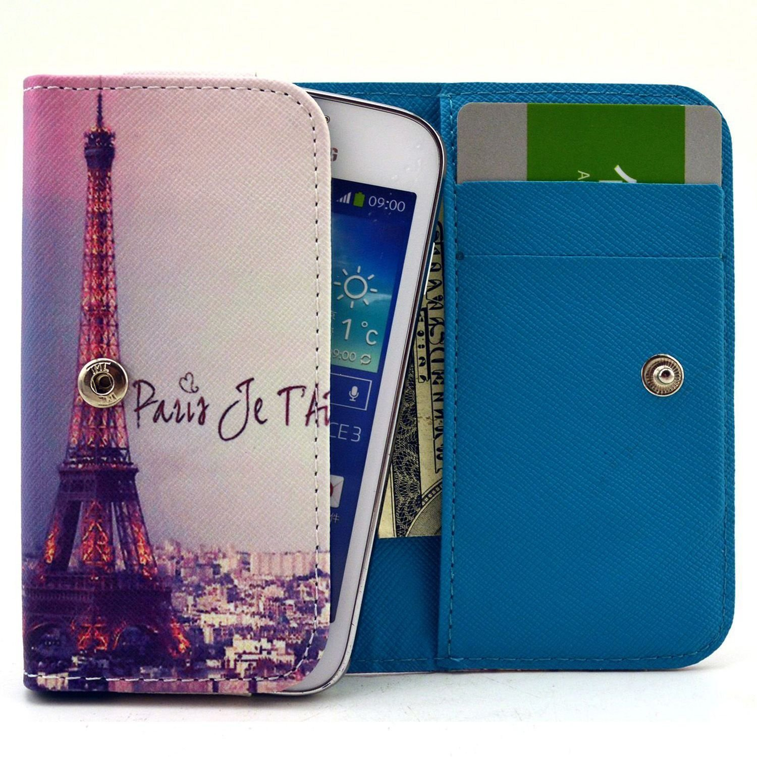 FIGO Atrium 5.5 Case,Universal Wallet Clutch Bag Carrying Flip Leather Smartphone Case with Card Slots for FIGO Atrium 5.5 Inch-Paris Eiffel Tower Style