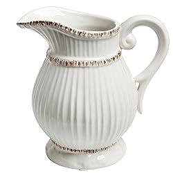 MyGift Blanc en céramique Style vintage Campagne française d'eau Pichet Vase/décoratifs Bouquet support