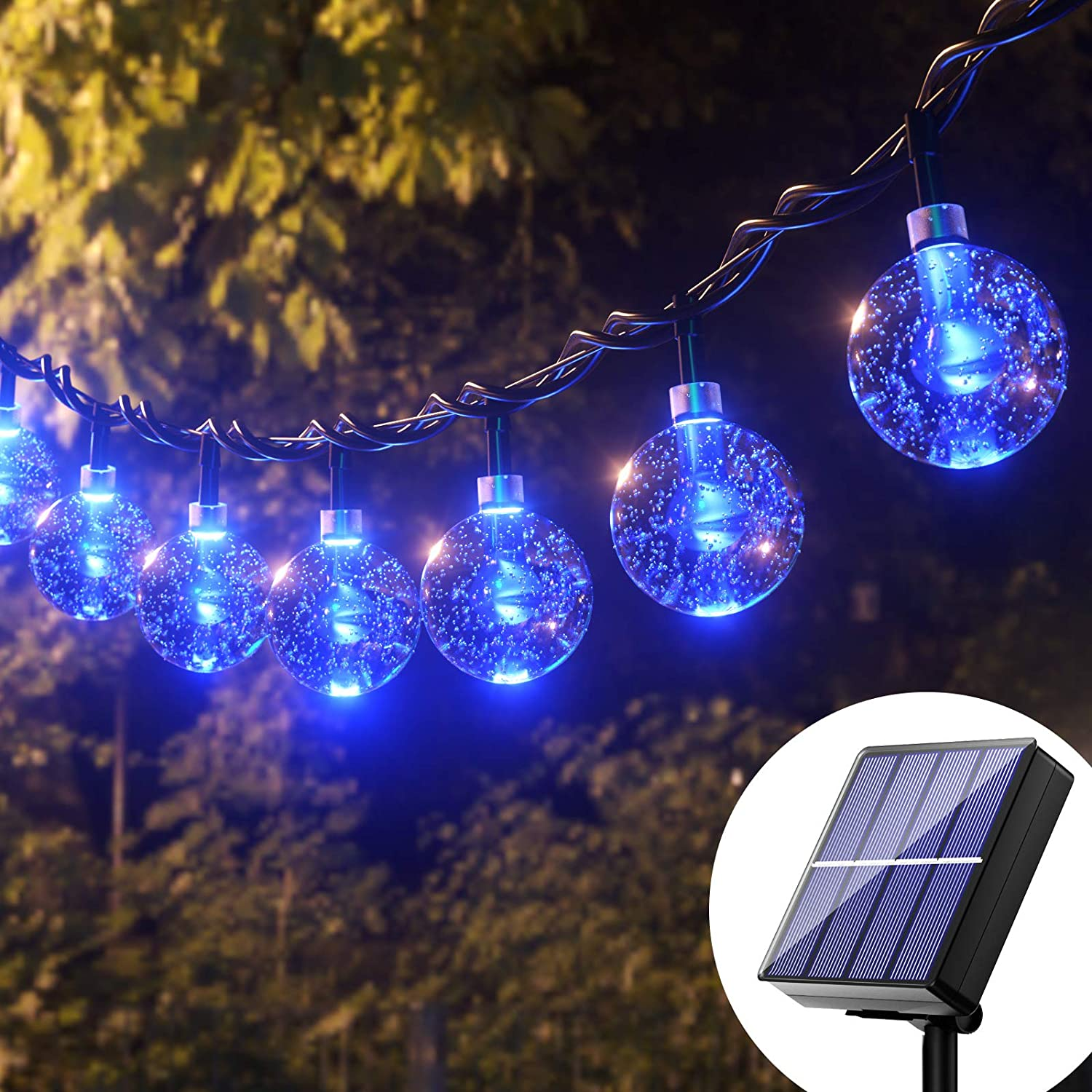 Solar String Lights Blue Outdoor - 36FT 60 Led Upgraded Outdoor Globe String Lights, Solar Powered Crystal Balls Lights, 8 Mode Waterproof Patio Lights Solar for Garden patio Gazebo Yard Party Decor
