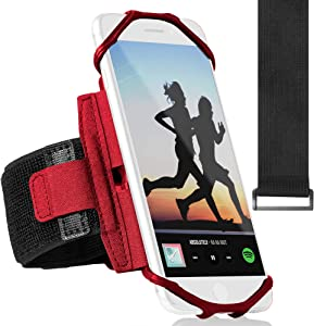 Sports Running Armband for iPhone XR, XS Max, 8, 8 Plus, 7, 6, Samsung Galaxy A8, S9, S8, S6 Edge, Note, LG; 360° Rotatable Cell Phone Arm Holder for Men & Women with Free Extender Strap (Red)