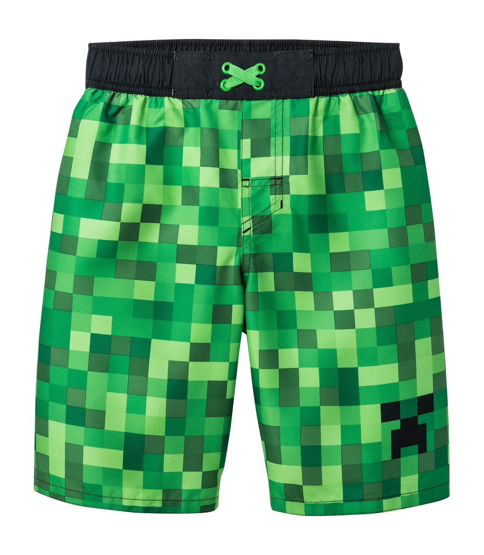 Mojang Minecraft Big Boys Swim Trunk,Green, Black,S (6/7)