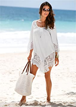 5d4371eca1 Jevole Beach Coverups For Women Bikini Swimwear Cover Up Quickly Dry  Oversize Lace Swimsuit Summer Beachwear White: Home: Amazon.com.au