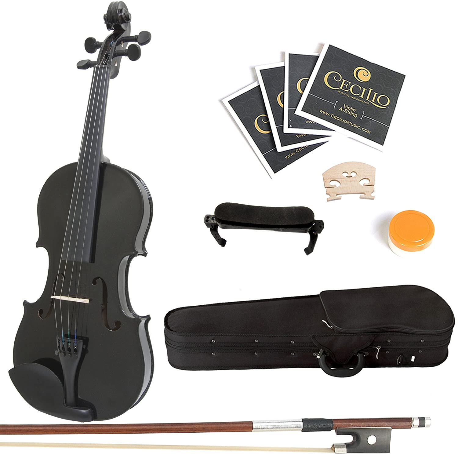 Mendini 1/2 MV-Black Solid Wood Violin with Hard Case, Shoulder Rest, Bow, Rosin and Extra Strings 1/2MV-Black