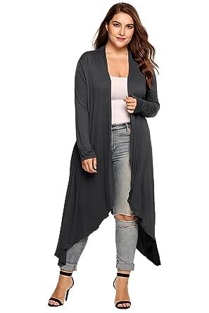 f8426261d8c Zeagoo Women s Plus Size Long Sleeve Waterfall Asymmetric Drape Open Front  Long Maxi Cardigan Sweater L