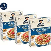 3-Pack Quaker Oatmeal Squares Breakfast Cereal 14.5 oz