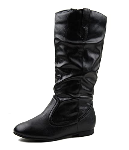 Amazon.com | Live Black Fux Leather Boots Low Flat Heel Mid Calf ...