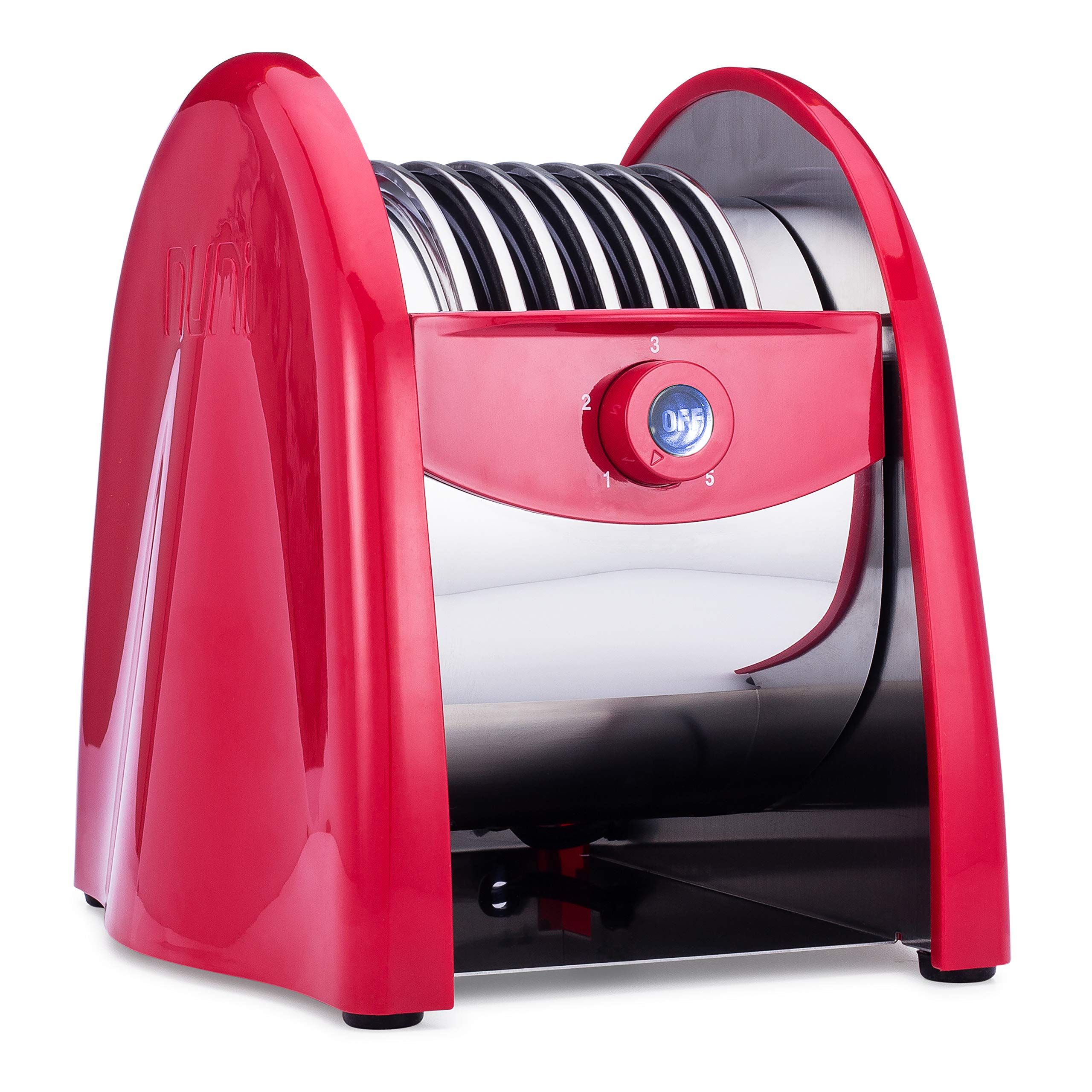 NUNI - World's First Tortilla Toaster (Red). 6 Hot Tortillas in Less Than One Minute. Easier Than Warming Tortillas On The Stove. Better Than Warming Tortillas In The Microwave. Made For 6-Inch Corn, Flour, & Wheat Tortillas.