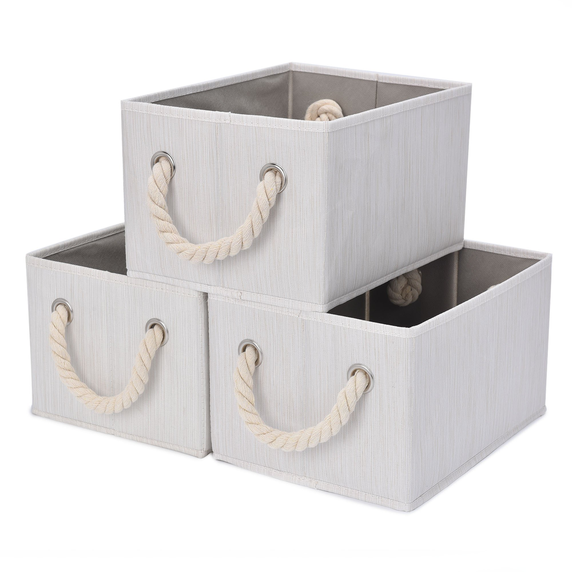 StorageWorks Storage Bins Closet with Cotton Rope Handles, Foldable Storage Basket, White, Bamboo Style, 3-Pack, Jumbo, 17.1(L) x12.0(W) x10.2(H) inches
