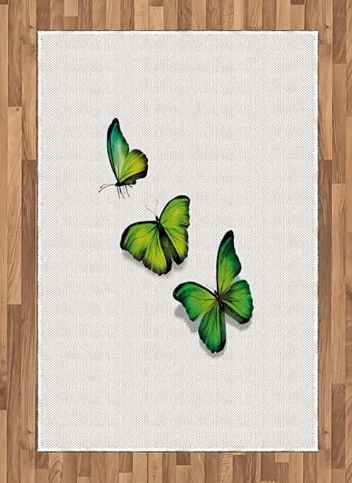 Ambesonne Green Area Rug 3 Vibrant Butterflies On White Backdrop Spring Nature Flat Woven Accent Rug For Living Room Bedroom Dining Room 4 X 5 7 Lime Green Fern Green Black Kitchen