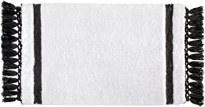 """iDesign Stripe Fringe Cotton Bath Mat, Shower Accent Rug for Master, Guest, and Kids' Bathroom, White and Charcoal Gray - 21"""" x 34"""""""