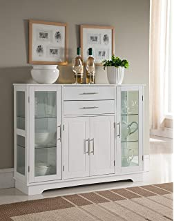 white kitchen cabinets with glass doors frosted glass kings brand kitchen storage cabinet buffet with glass doors white amazoncom tangkula console door