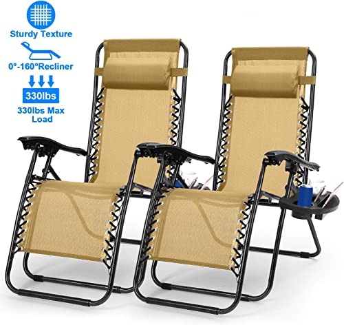 2PC Zero Gravity Chairs, Moclever Adjustable Foldable Zero Gravity Lounge Chair Recliners for Patio – Beige