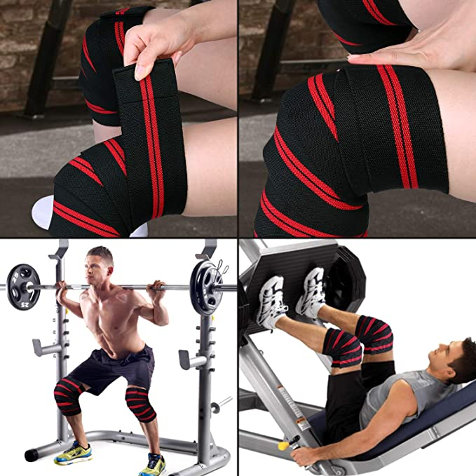 Squats Adjustable Knee Brace for Increase Leg Strength and Protect Knee Joints Odoland Knee Wraps Knee Support for Weightlifting Weightlifting Leg Press and Deadlifts and Powerlifting