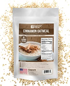 Essential Values 32 Servings Emergency Food Supply (32-Day Supply / 1 Breakfast per Day) – Fortified & Enriched Oatmeal with Cinnamon Flavoring Taste + 12 Month Shelf Life