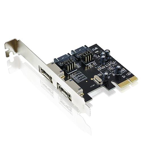CSL - PCI-Express (PCIe) 2.0 Controller card/interface card for SATA III / eSATA III (SSD+HDD drives)   6Gbit/s   2x internal SATA / 2x external eSATA   ASMEDIA